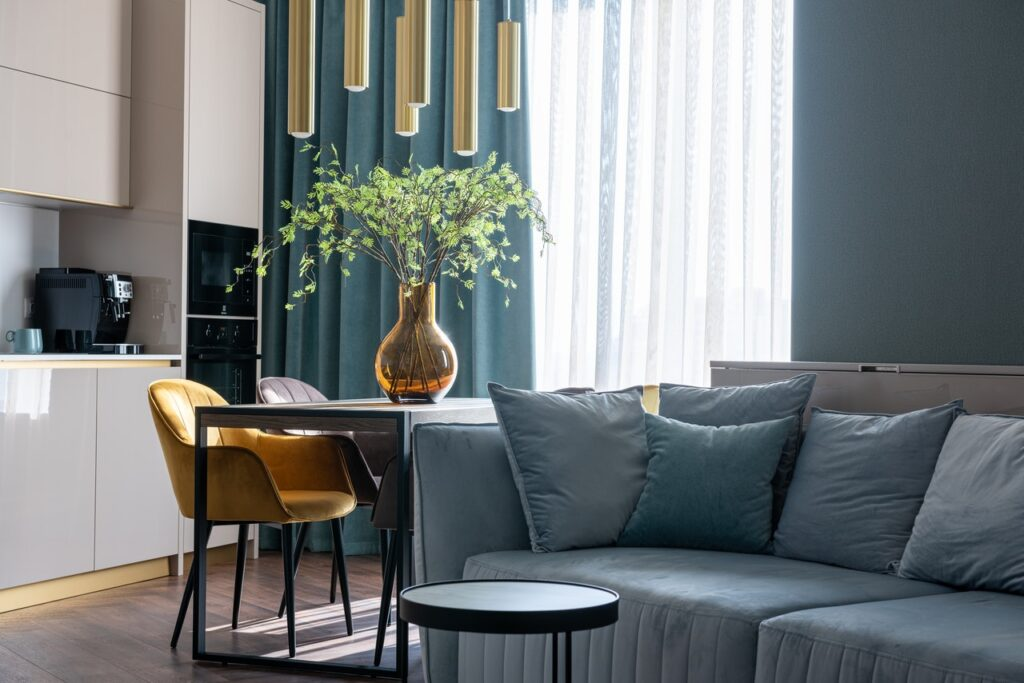 Modern apartment interior with sofa and a kitchen zone